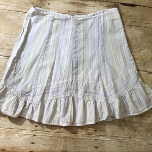 Feminine pale blue skirt with a ruffle hem size LG